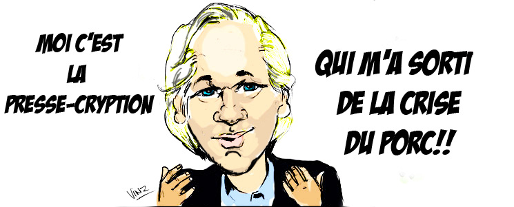 caricature Julian Assange